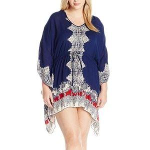 Angie Kaftan Border Print Tie Waist Tunic Dress L
